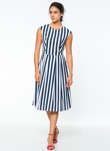 Çizgili Uzun Kloş Elbise-Utopian
